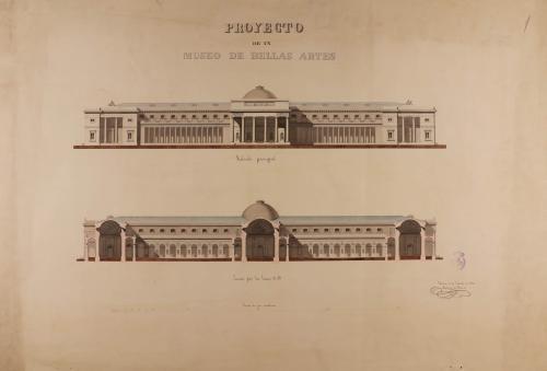 Alzado de la fachada principal y sección AB de un museo para Bellas Artes