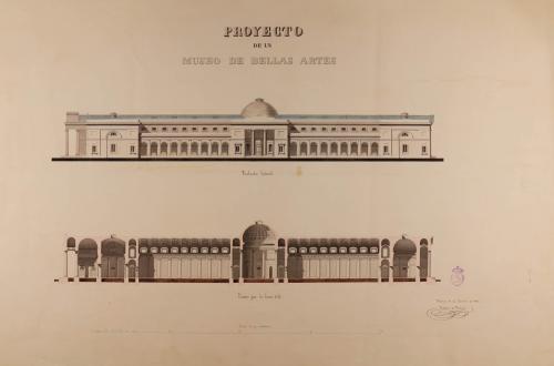 Alzado de la fachada lateral y sección CD de un museo de Bellas Artes