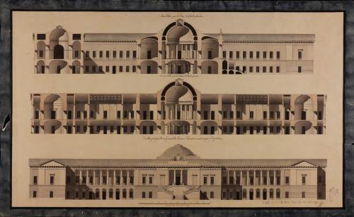 Alzado de la fachada principal y secciones 1-2 y 3-4 de un gabinete de Historia Natural