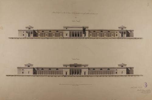 Alzado de las fachadas principal y posterior de un museo de ciencias naturales en el Jardín Botánico de Madrid