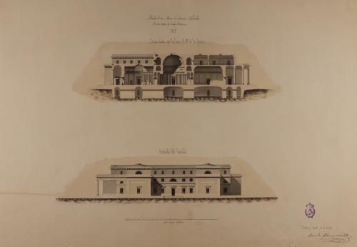 Alzado de la fachada lateral y sección AB de un museo de ciencias naturales en el Jardín Botánico de Madrid