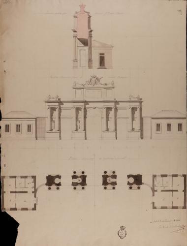Planta, alzado y sección de portada adornada para el jardín botánico.