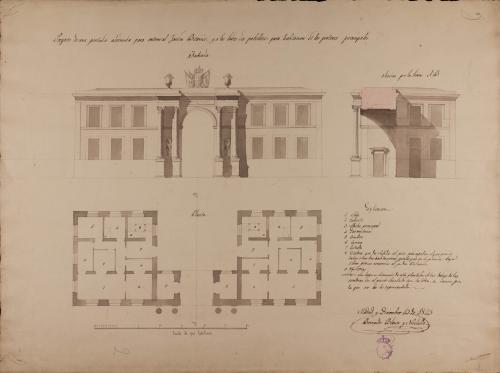 Planta, alzado de la fachada exterior y sección AB de portada para el Jardín Botánico de Madrid con habitaciones para porteros