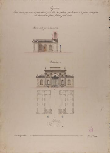 Fachada y sección AB de portada para el Jardín Botánico con habitaciones para porteros