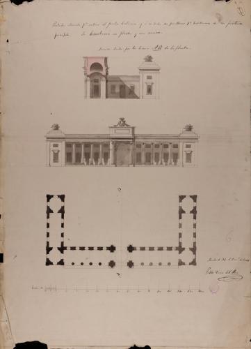 Planta, alzado y sección AB de portada del Jardín Botánico con habitaciones para porteros