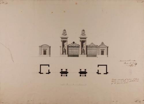 Portada adornada para entrar al Jardín Botánico de Madrid, con dos pabellones para los guardas principales.