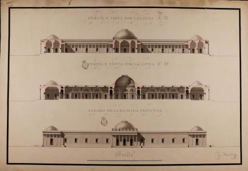 Alzado de la fachada principal y secciones AB y CD de museo para la ciudad de Sevilla