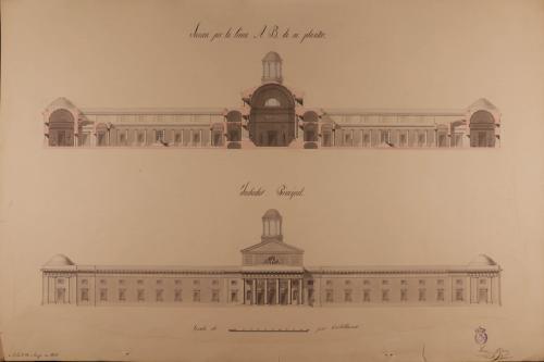 Alzado de la fachada principal y sección AB de museo dedicado a la enseñanza de las ciencias más elevadas