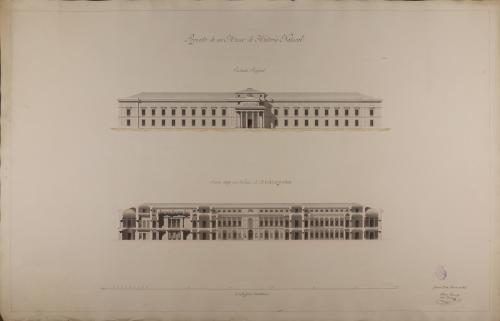 Alzado de la fachada principal y sección ABCD de un museo y academia de historia natural
