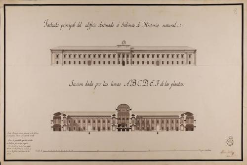 Alzado de la fachada principal y sección ABCDEF de un Gabinete de Historia Natural