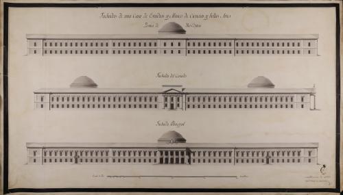 Alzado de las fachadas principal, posterior y lateral de una casa de estudios y museo de ciencias y bellas artes