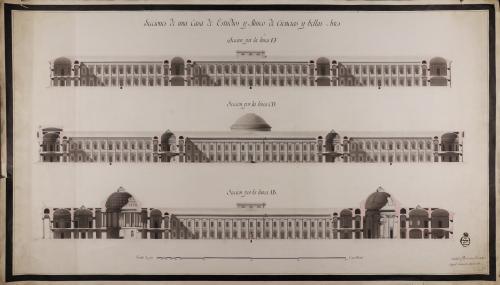 Secciones AB, CD y EF de una casa de estudios y museo de ciencias y bellas artes