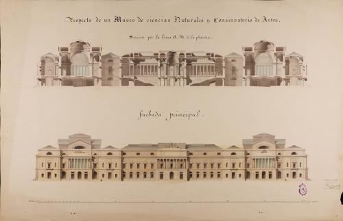 Alzado de la fachada principal y sección AB de un museo de ciencias naturales y conservatorio de artes