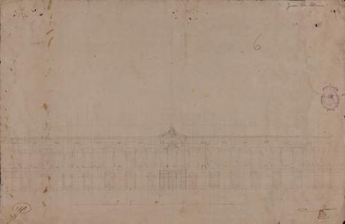 Apunte de una portada de un palacio de orden jónico