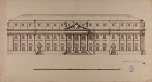 Alzado de la fachada  principal de una academia de tres nobles artes