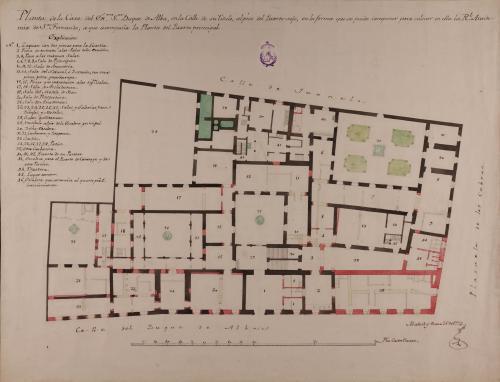 Planta baja de la casa del Excmo. Sr. Duque de Alba en la calle de su título, en la forma en que se puede componer para colocar en ella la Real Academia de San Fernando.