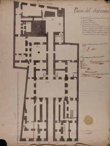Planta de sótanos del palacio de Goyeneche para sede de la Real Academia de San Fernando