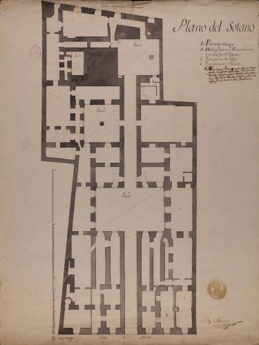 Planta sótano del Palacio de Goyeneche para sede de la Real Academia de San Fernando