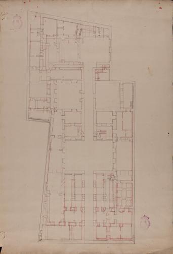 Planta sótano y baja del palacio de Goyeneche para sede de la Real Academia de San Fernando