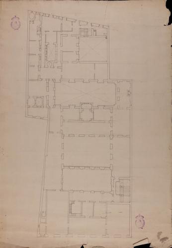 Planta de la segunda planta del palacio de Goyeneche para sede de la Real Academia de San Fernando