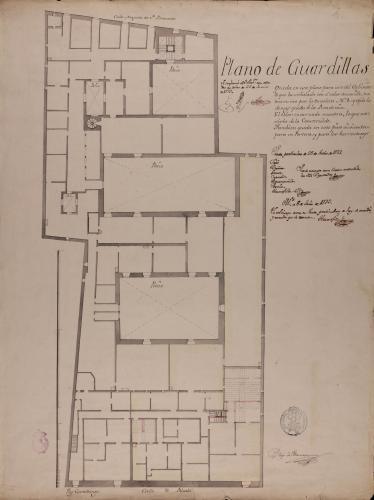 Planta de las buhardillas del Palacio de Goyeneche para sede de la Real Academia de San Fernando