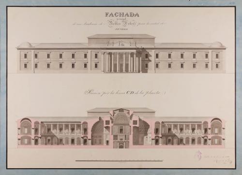Alzado de la fachada principal y sección CD de una Academia de nobles artes para Sevilla