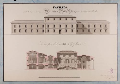 Alzado de la fachada posterior y sección AB de una Academia de nobles artes para Sevilla
