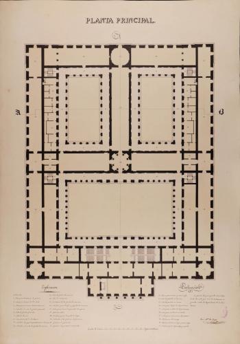 Planta principal de una Academia de nobles artes para Madrid