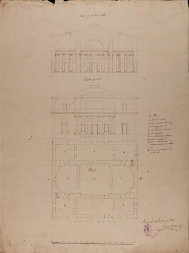 Planta, alzado de la fachada principal y sección AB de una Academia de Bellas Artes
