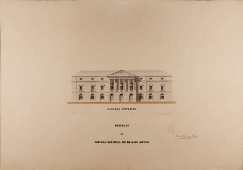 Alzado de la fachada posterior de una escuela especial de Bellas Artes