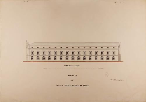 Alzado de la fachada lateral de una escuela especial de Bellas Artes