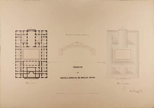 Planta del ático, cubiertas y sección de la armadura que cubre el salón de una escuela especial de Bellas Artes