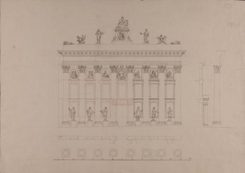 Planta, alzado y sección de la fachada de la Real Academia de Bellas Artes de San Fernando