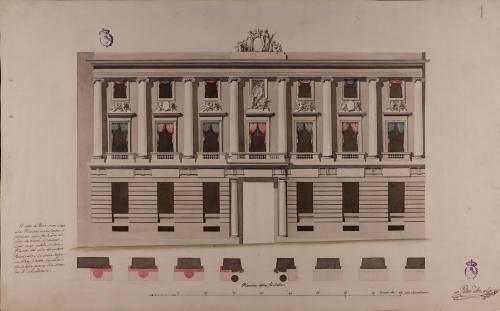 Planta y alzado de la fachada de la Real Academia de Bellas Artes de San Fernando