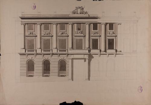 Alzado de la fachada de la Real Academia de Bellas Artes de San Fernando