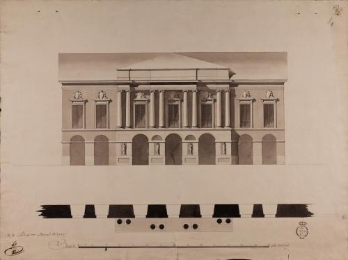Planta y alzado de la fachada una Academia de Bellas Artes