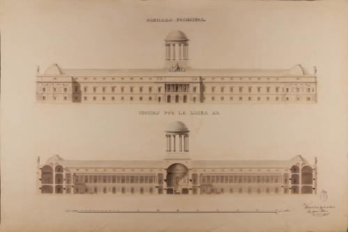 Alzado y sección AB de la fachada principal de un Gabinete de Historia Natural