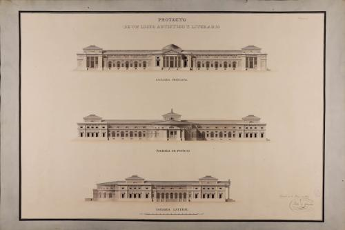 Alzado de las fachadas principal, posterior y lateral de un liceo artístico y literario