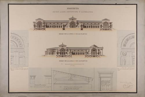 Secciones Ab y CD y detalles constructivos y decorativos de las fachadas de las salas de pintura y escultura de un liceo artístico y literario