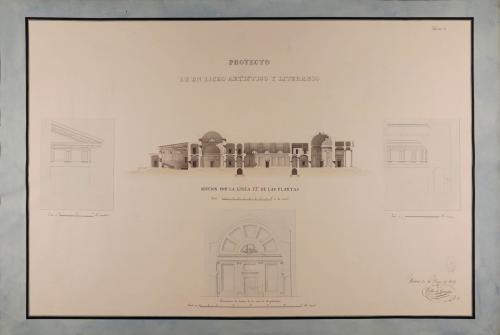 Sección EF y detalles decorativos y constructivos de un liceo artístico y literario