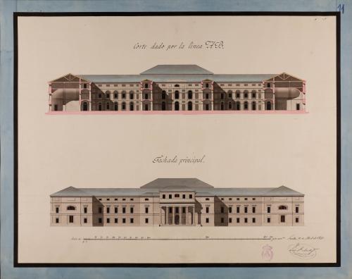 Alzado de la fachada principal y sección AB de un instituto para Sevilla