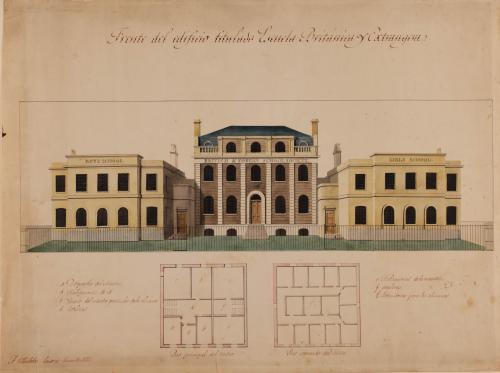 Planta principal y segunda y alzado de la fachada principal de una escuela británica y extranjera