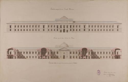 Alzado de la fachada principal y sección AB de una escuela politécnica