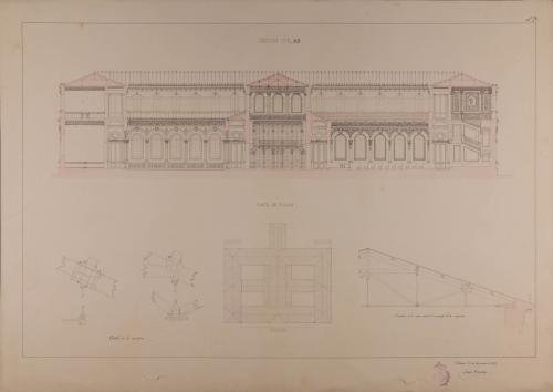 Planta de tejados, sección AB y detalles de la armadura de una escuela de agricultura, selvicultura y jardinería