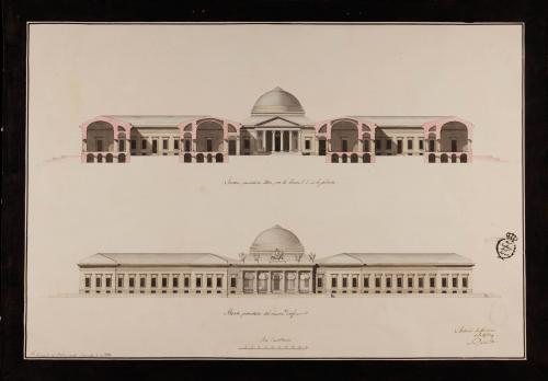 Alzado de la fachada principal y sección 1. 2. de un colegio militar