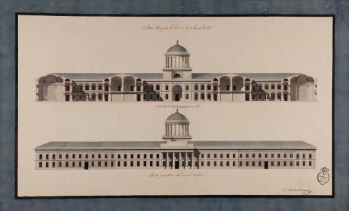 Alzado de la fachada principal y sección 1.2. de un seminario o colegio militar con capacidad para 150 seminaristas