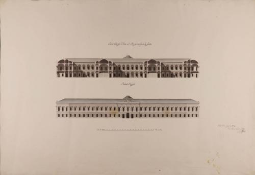 Alzado de la fachada principal y sección AB de un colegio militar facultativo