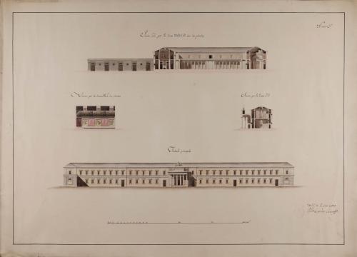 Alzado de la fachada principal y las secciones ABCD, EF y GH de un colegio general militar, extramuros de una ciudad
