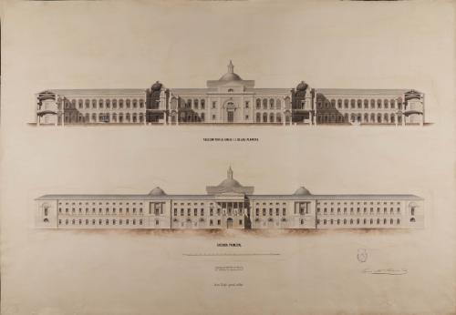 Alzado de la fachada principal y sección CD de un colegio general militar