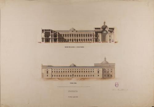 Alzado de la fachada lateral y sección AB de un colegio general militar